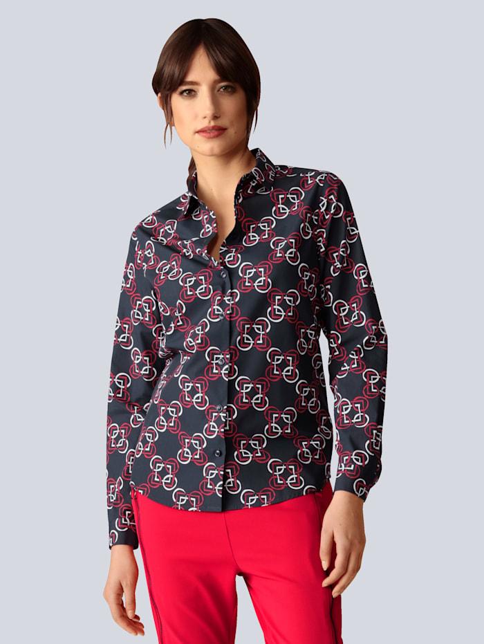 Seidensticker Schwarze Rose Bluse im modischen Kettendessin, Dunkelblau
