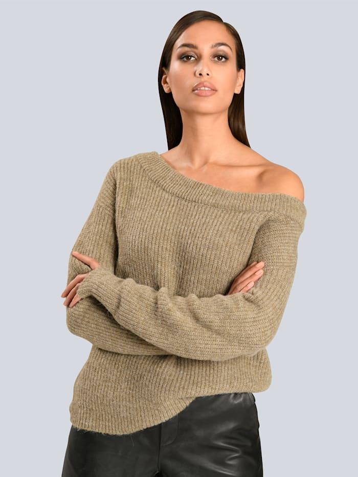 Alba Moda Pullover mit modisch weitem Ausschnitt, Taupe