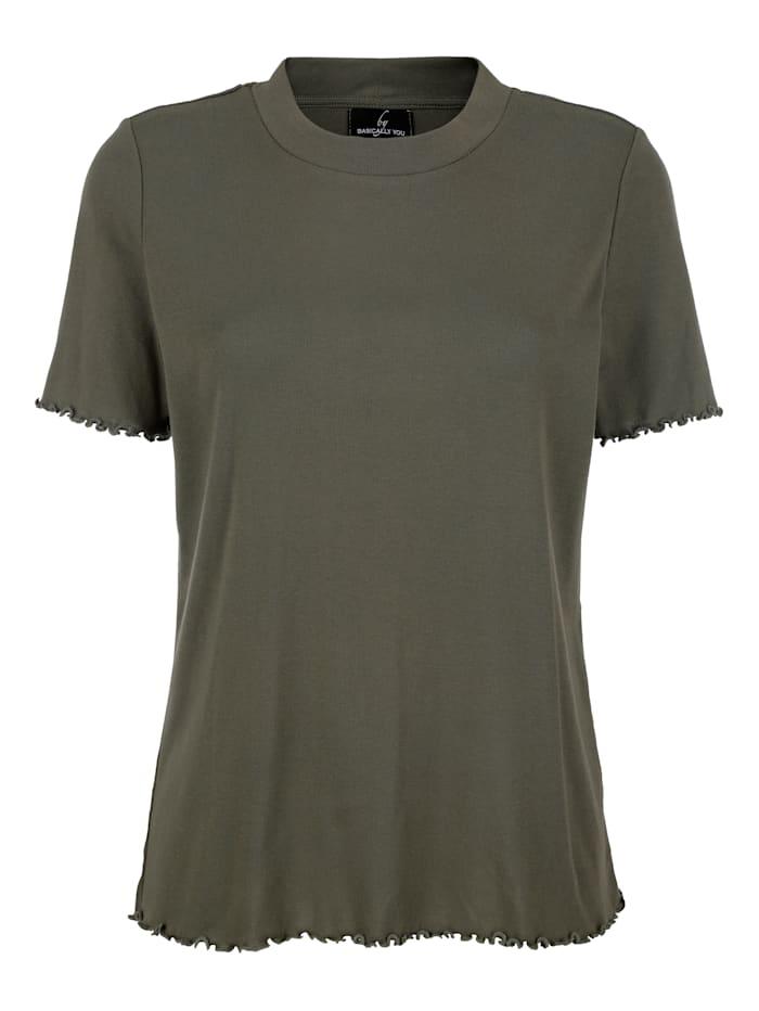 basically you Shirt mit Wellensaum, Khaki