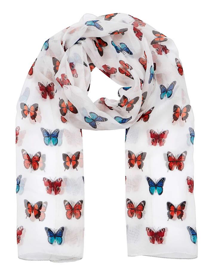 Paola Sjal med fjärilsmönster, vit/flerfärgad