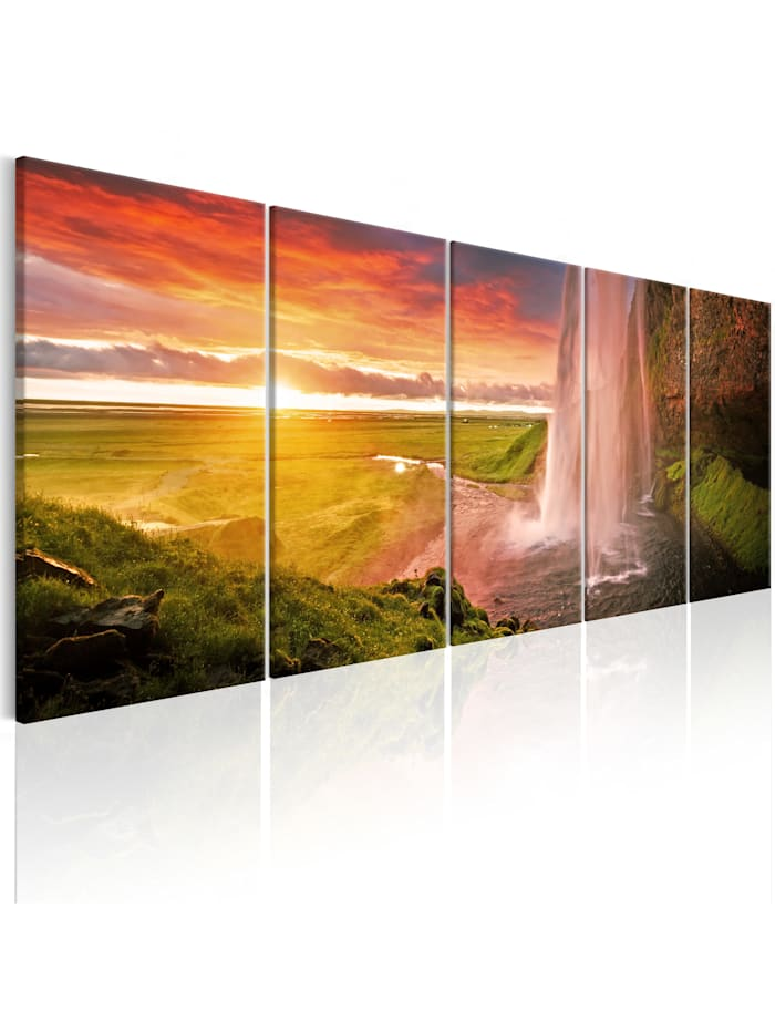 artgeist Wandbild Seljalandsfoss Waterfall I, Braun,Grün,Grau,Orange,rosa