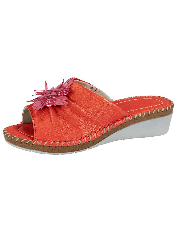Relaxshoe Pantolette mit schöner Zierblüte, Rot