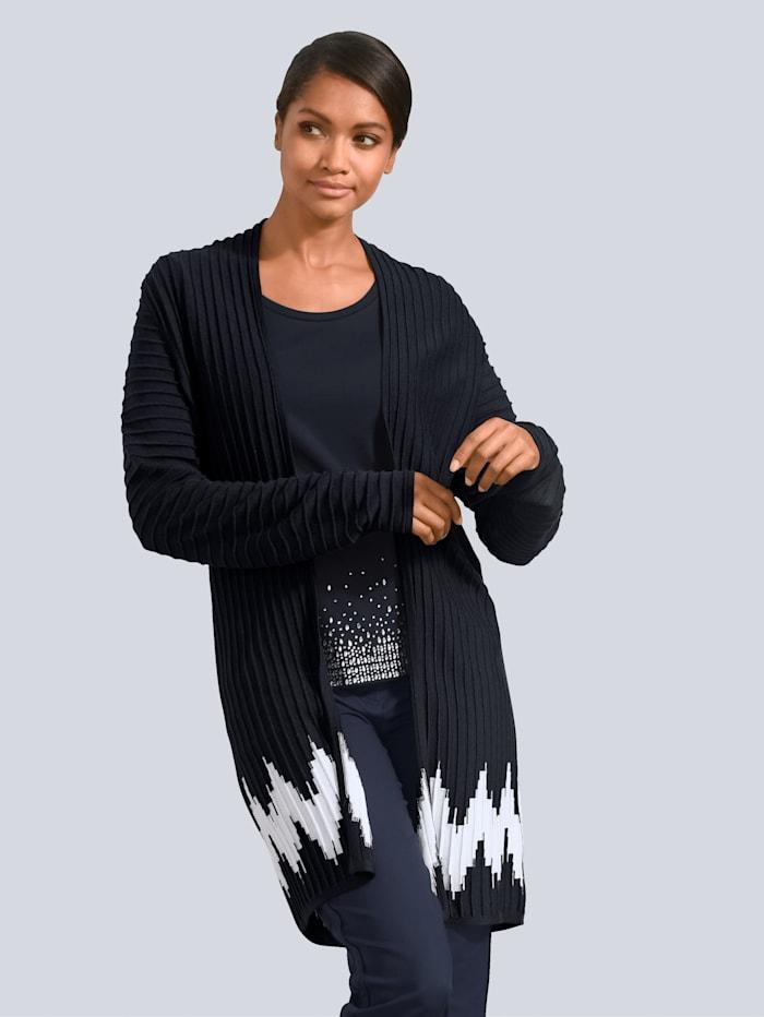 Alba Moda Vest met modieuze contrasten, Marine/Wit