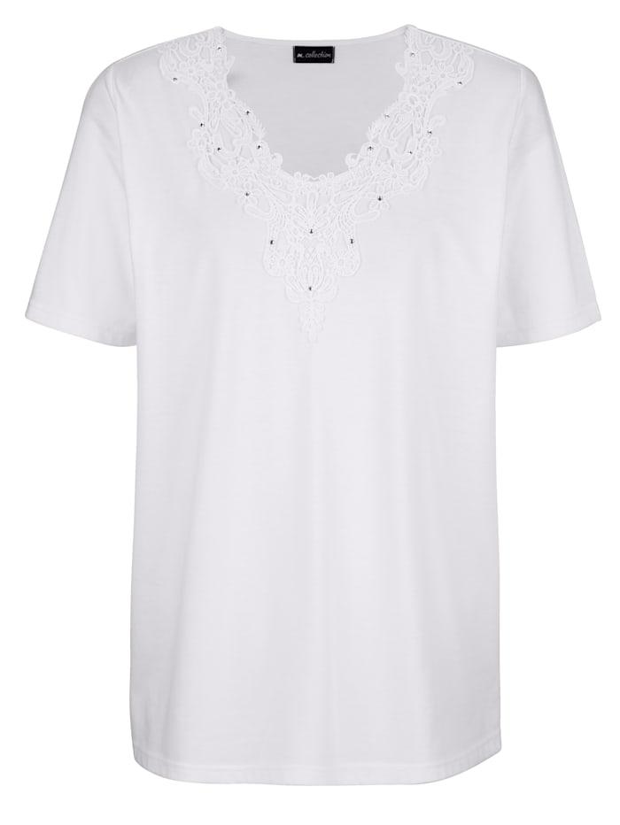 m. collection T-shirt avec dentelle fantaisie à l'encolure, Blanc