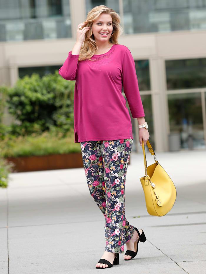 m. collection Shirt met transparante netinzet aan de hals, Pink