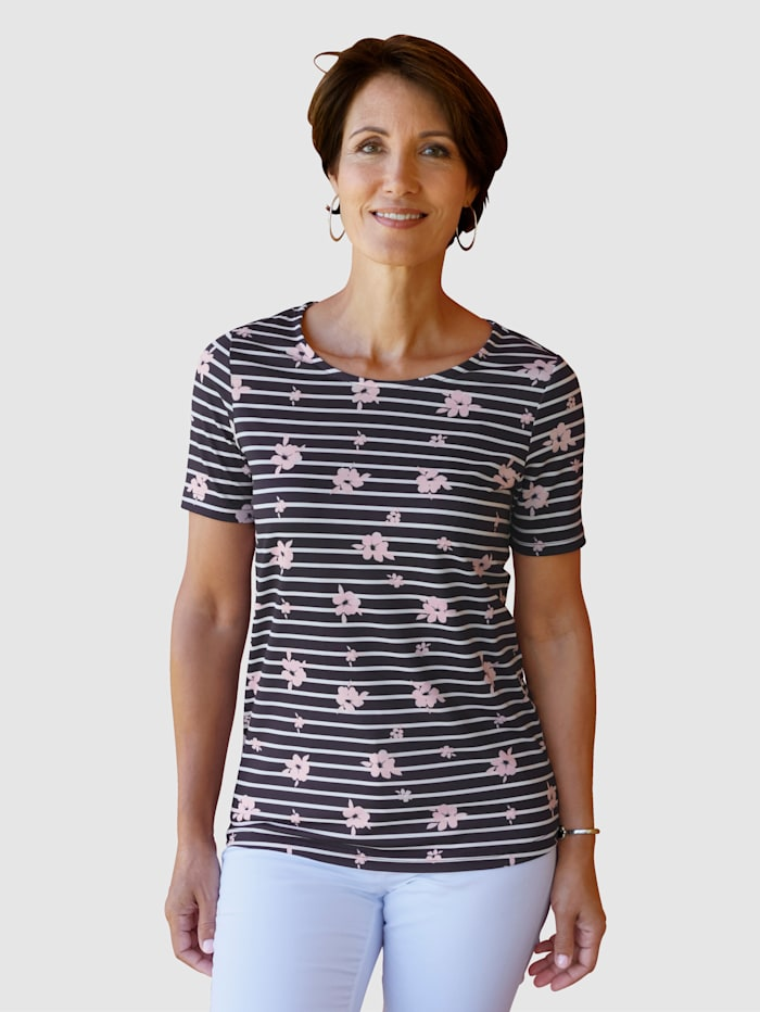Paola Shirt met streeppatroon, Marine/Wit