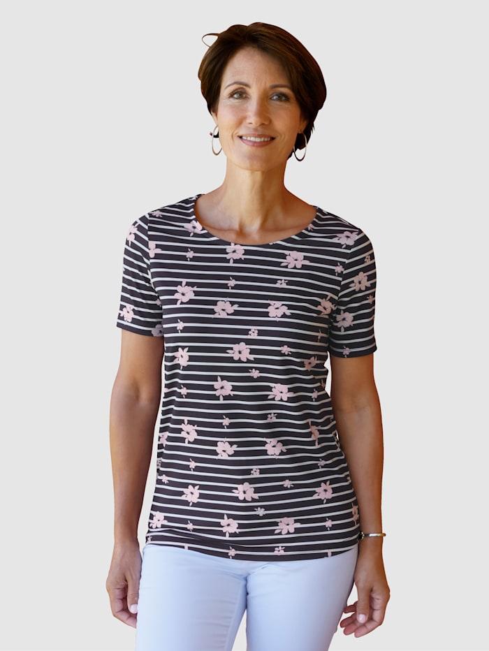 Paola Shirt mit Streifendesign, Marineblau/Weiß