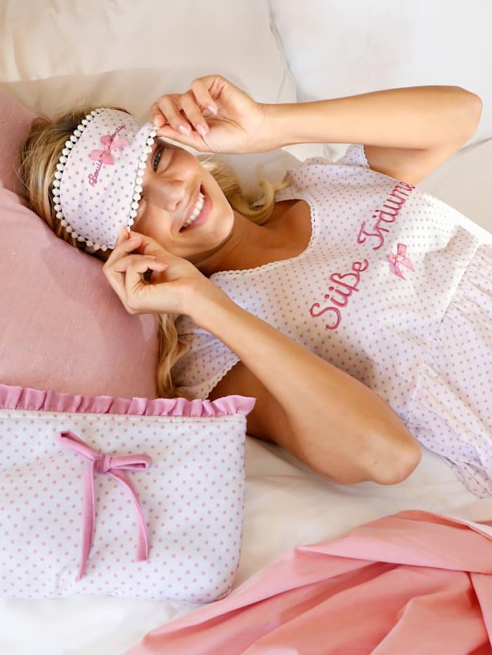 Sovmask med söt satinrosett