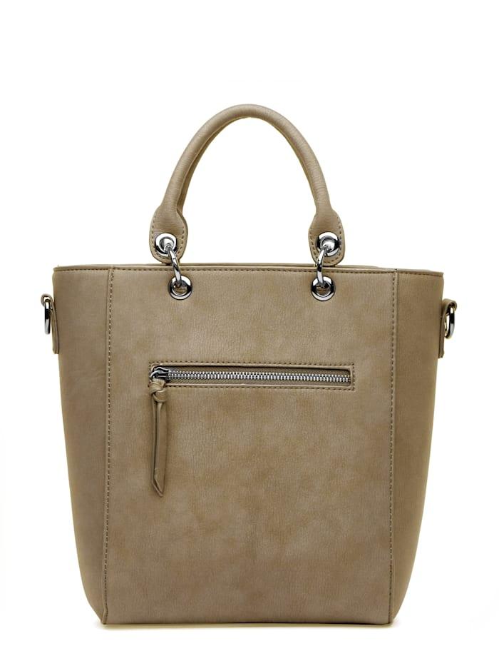 Handtasche Christine mit Tragegurt und Reißverschlussfach auf der Rückseite klassische Handtasche in idealer Größe