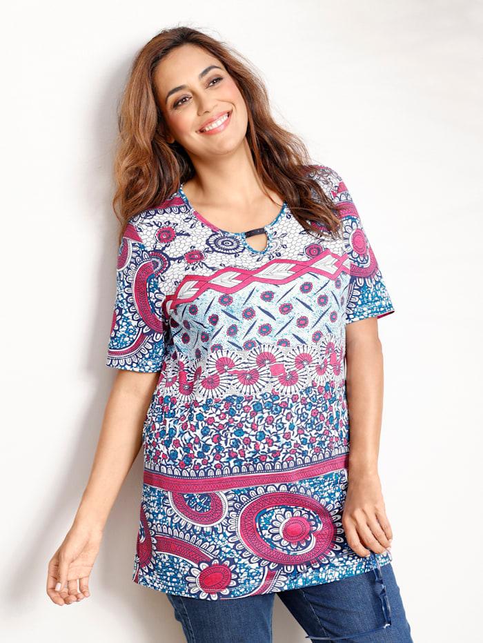 MIAMODA Shirt mit Dekosteinchen am Ausschnitt, Pink/Marineblau