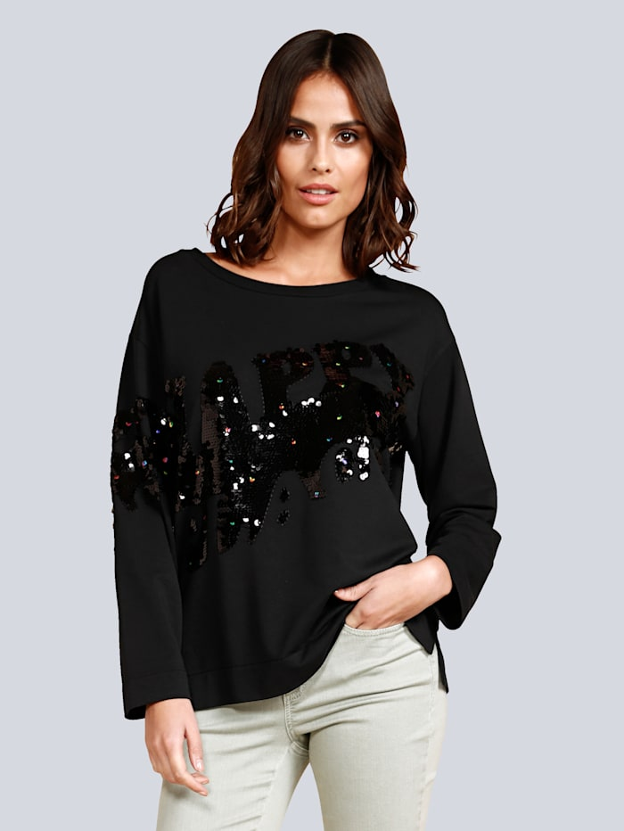MARGITTES Sweatshirt mit Pailletten besetzt, Schwarz