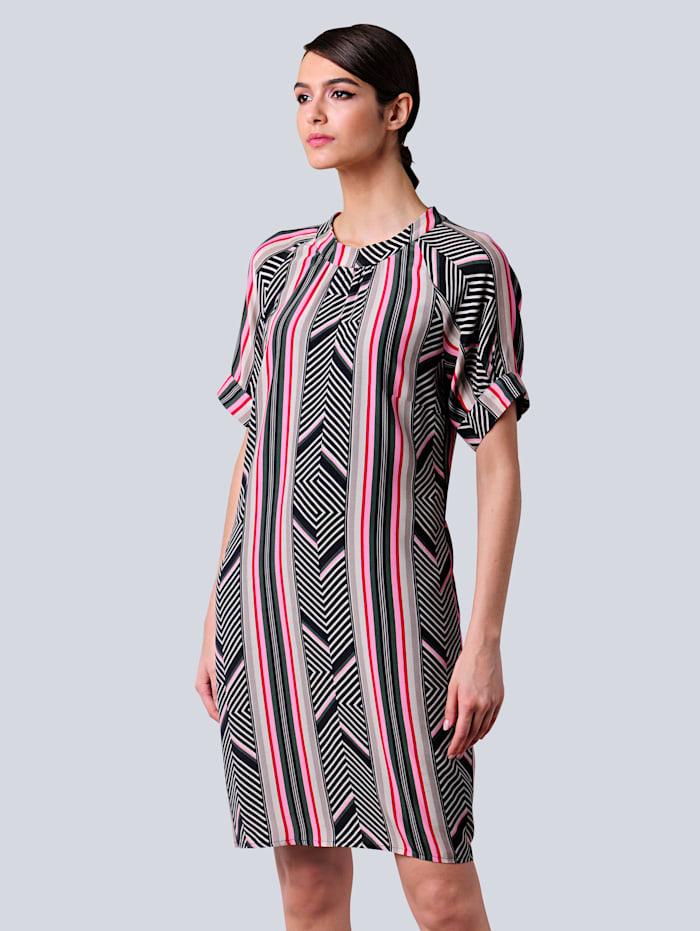 Alba Moda Kleid im farbenfrohen Dessin, Schwarz/Pink