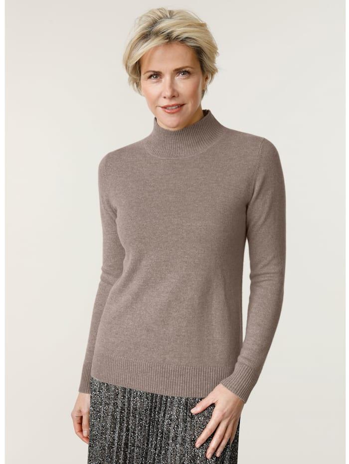 MONA Kaschmir-Pullover mit Stehkragen, Taupe
