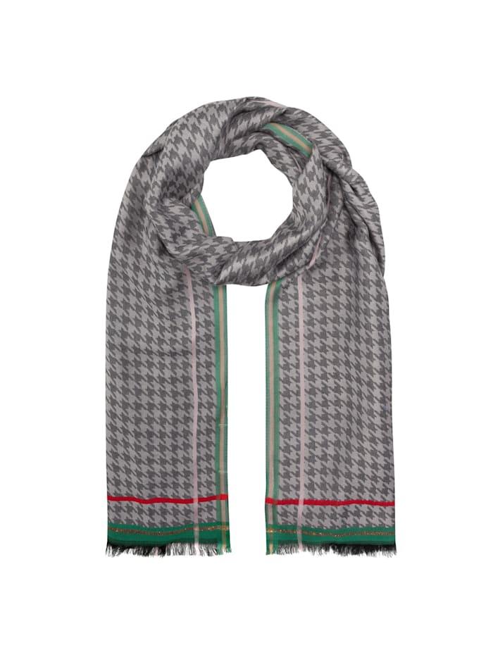 Codello Edler Hahnentritt-Schal aus Viskose mit Glanzstreifen, grey