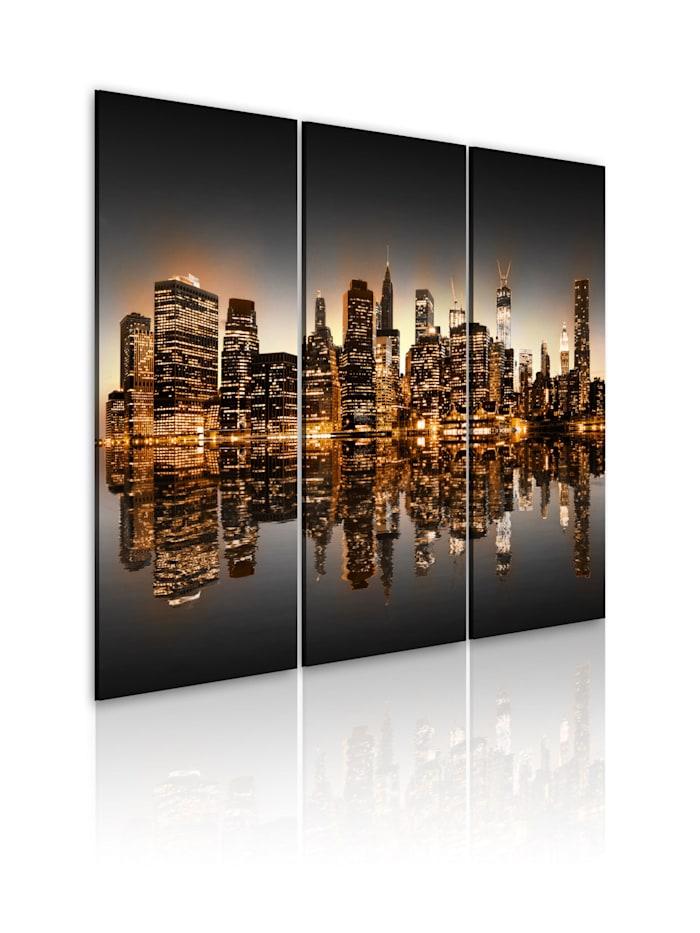 artgeist Wandbild New York - eine poetische Stadt, Schwarz,Grau,Orange