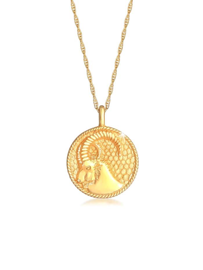 Elli Halskette Sternzeichen Steinbock Münze 925 Silber, Gold