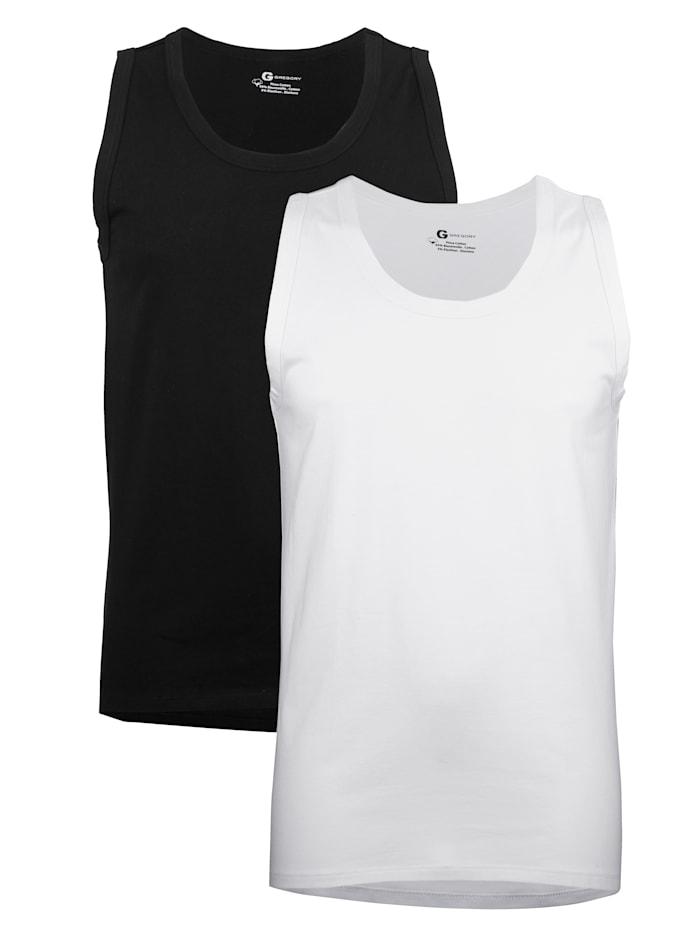 Hemd van Pima-katoen 2 stuks, 1x zwart, 1x wit