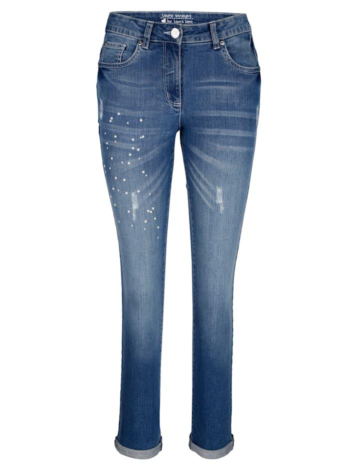Jeans Laura Straight met destroyed effecten