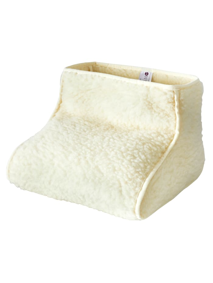 K & N Schurwolle Coussin relève-jambes en laine vierge avec chauffe-pieds à commander en set ou à l'unité, Blanc