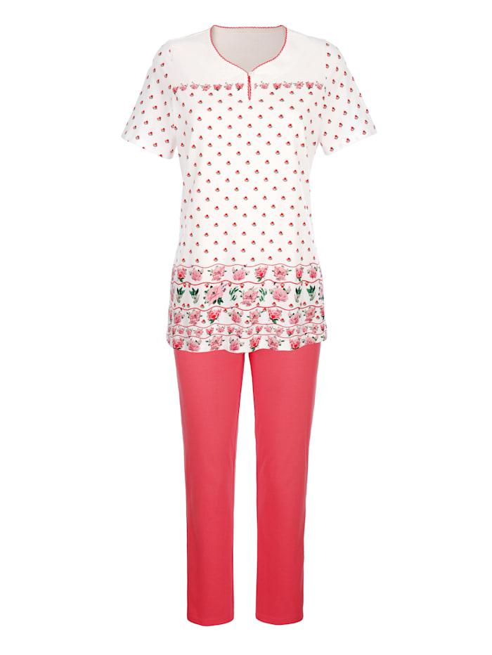 Schlafanzug 3tlg. mit floralem Bordürendruck