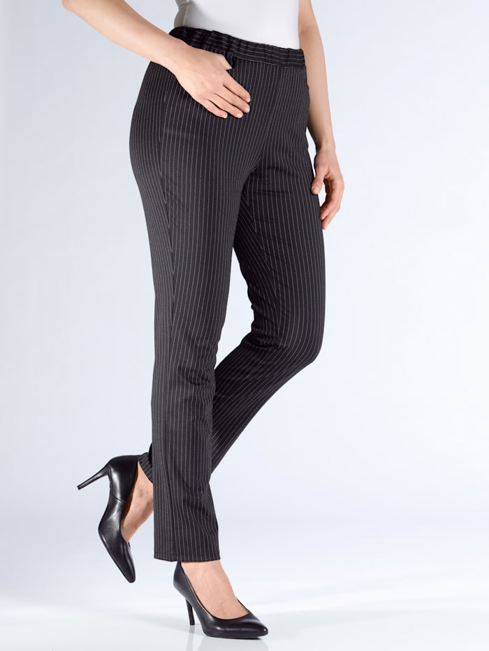 m. collection Jerseyhose in Comfort Fit, Schwarz/Weiß