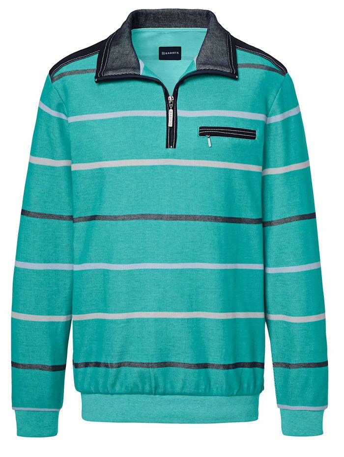BABISTA Sweat-shirt à motif rayé bicolore, Menthe