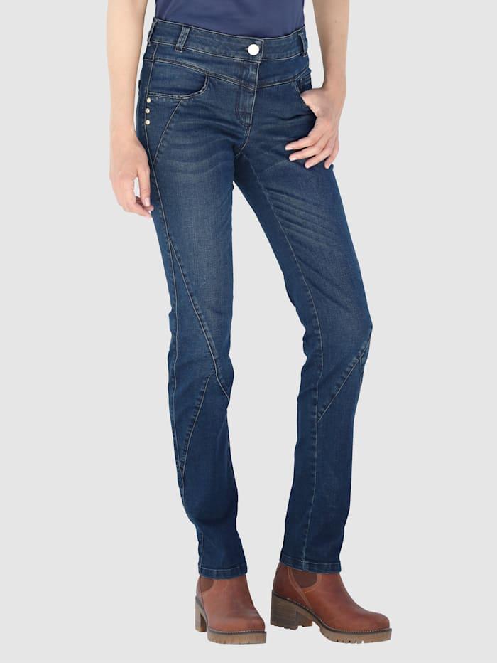 Laura Kent Jeans med tvättade effekter, Dark blue