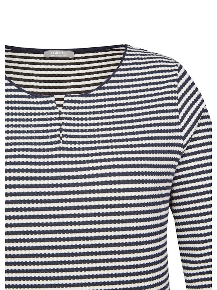 Shirt mit Allover-Ringeln und Ziersteinen
