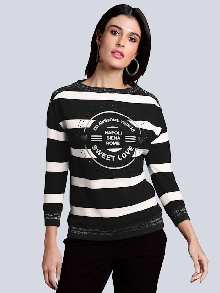 Alba Moda Sweat-shirt à motif exclusif signé Alba Moda, Noir/Blanc cassé