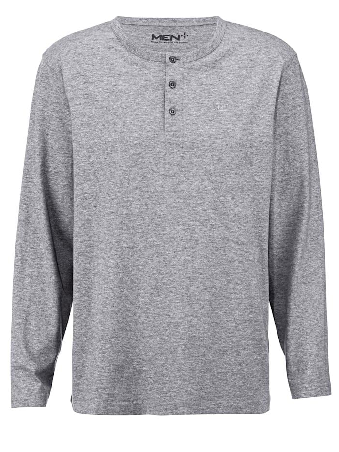 Men Plus Henley shirt met knoopsluiting, Grijs