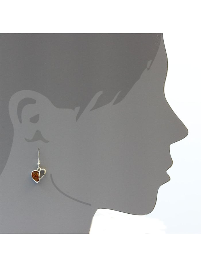 Ohrhänger - Herz - Silber 925/000 - Bernstein