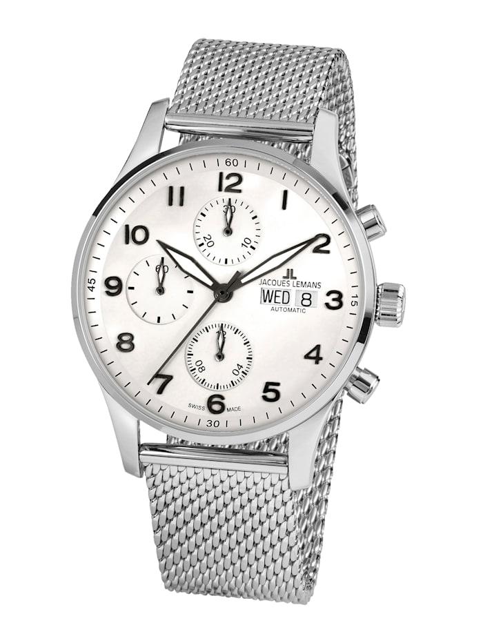 Jacques Lemans Herren- Uhr-Automatik-Chronograph Serie: London Automatic, Kollektion: Classic: 1- 1927E, Silberfarben