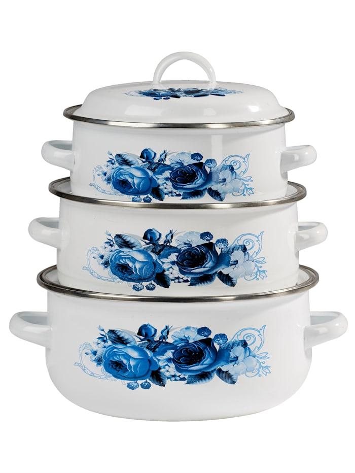 Lot de casseroles 6 pièces en émail 'Rêve fleuri', Blanc/bleu