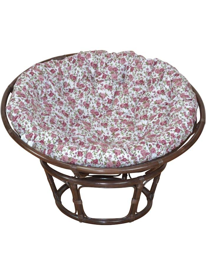 Möbel-Direkt-Online Papasansessel, Durchmesser 80 cm Sessel mit Kissen, braun