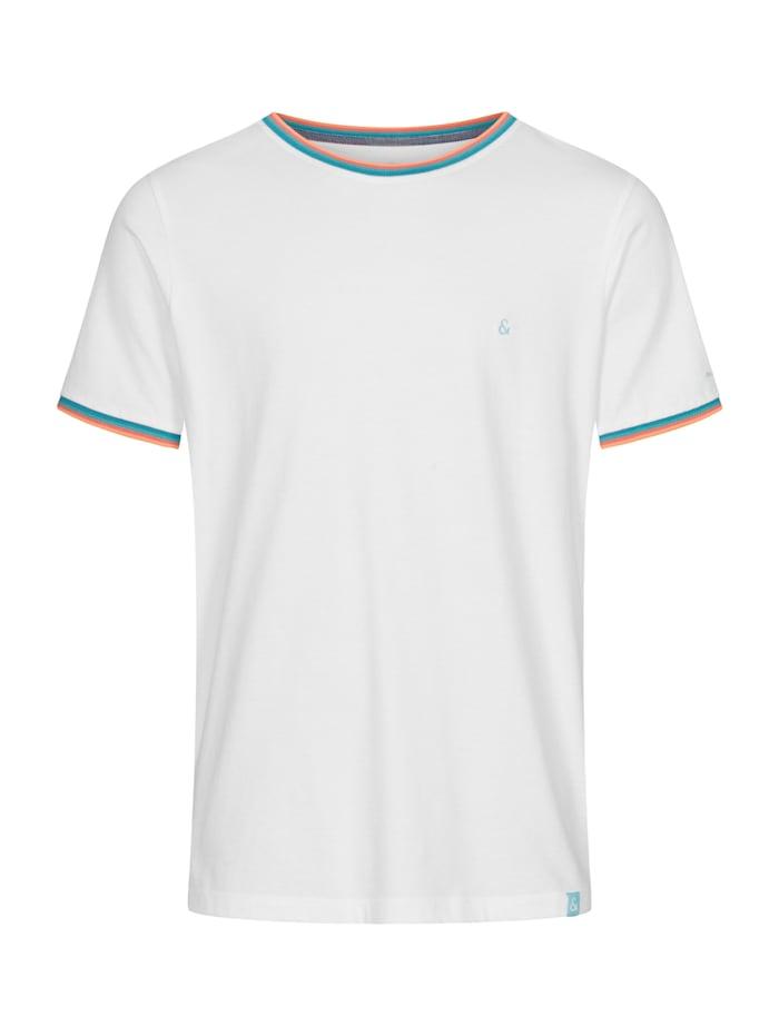 COLOURS & SONS T-Shirt Karl Label-Details, weiß