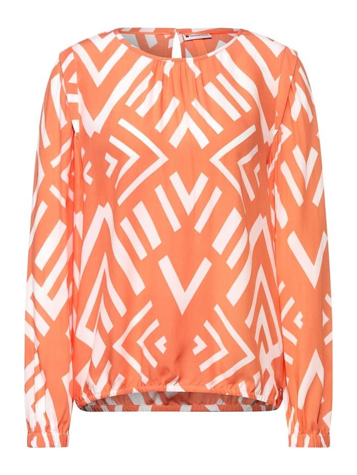 Street One Bluse mit Ikat Muster, strong mandarine