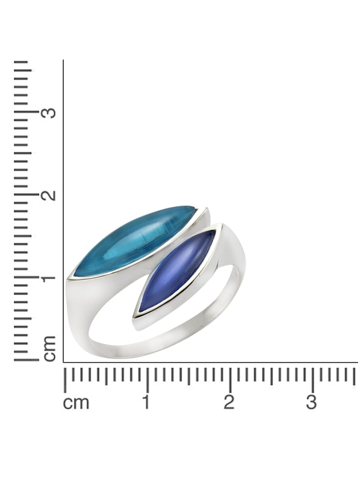 Ring 925/- Sterling Silber Quarz (beh.) blau Glänzend 925/- Sterling Silber