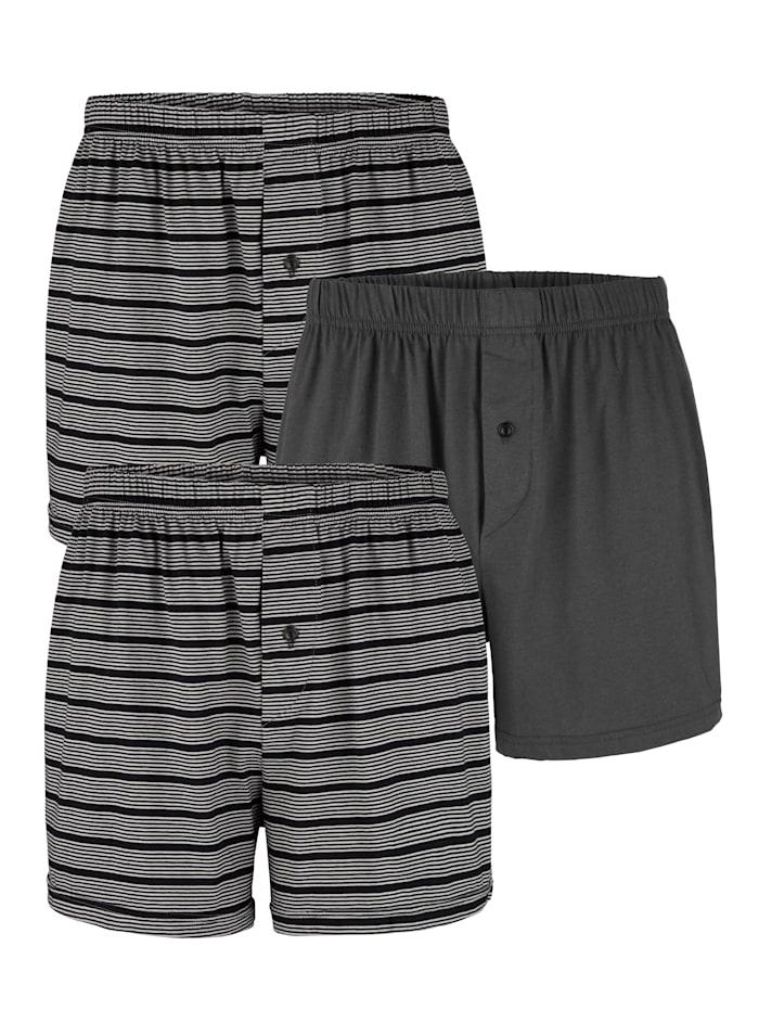 BABISTA Boxershort 3 stuks, 2x zwart/grijs, 1x antraciet