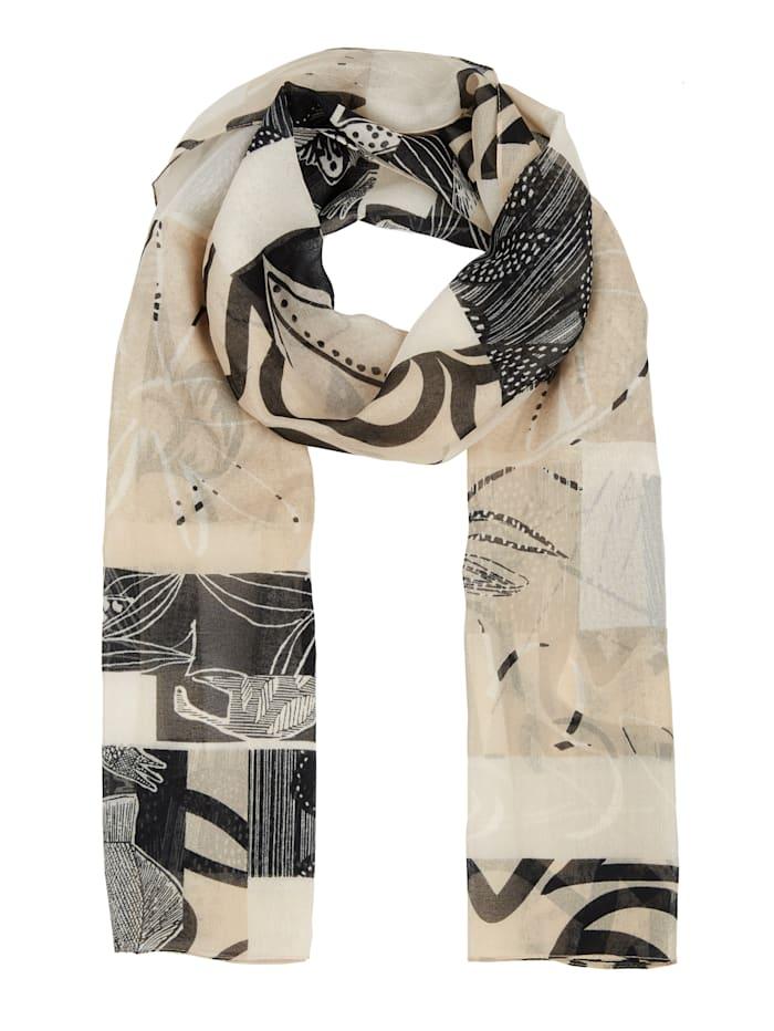 m. collection Schal in grafischem Druckdesign, beige/schwarz