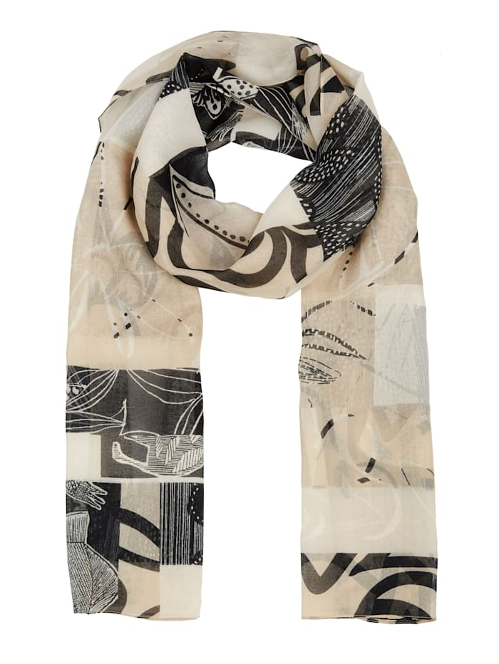 m. collection Sjaal met grafisch dessin, Beige/Zwart