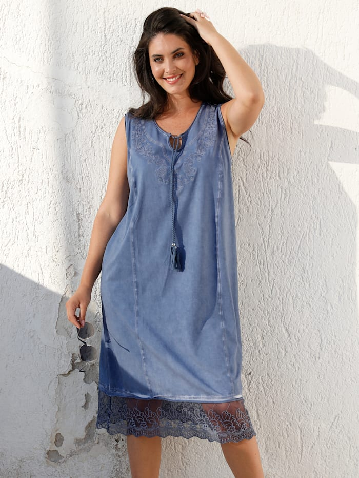 MIAMODA Kleid in Oil Washed Optik, Jeansblau