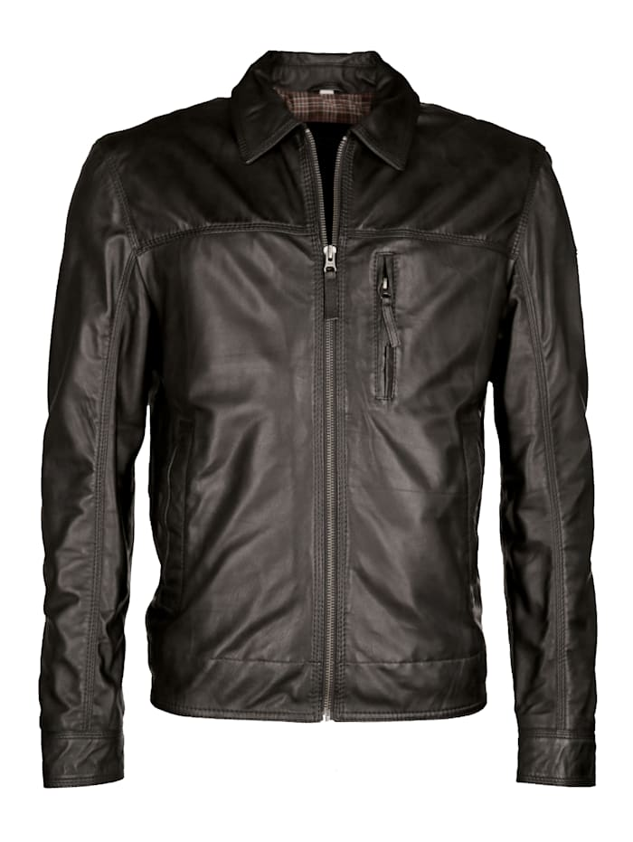 JCC Herrenlederjacke sportlicher Look, black