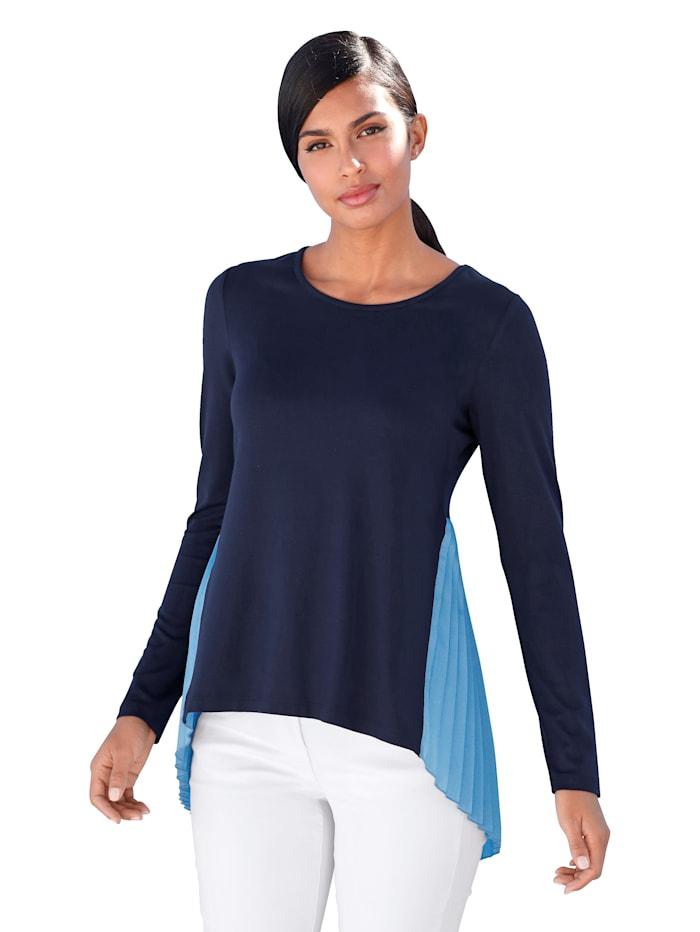 AMY VERMONT Shirt mit Plisseeeinsatz, Marineblau/Hellblau