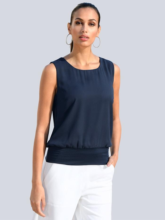 Alba Moda Top mit elastischem Bündchen, Marineblau