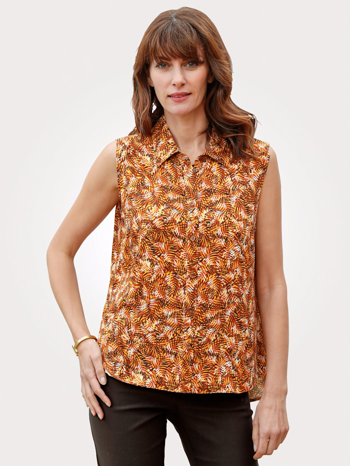 MONA Bluse mit allover Blätterdruck, Ockergelb/Braun