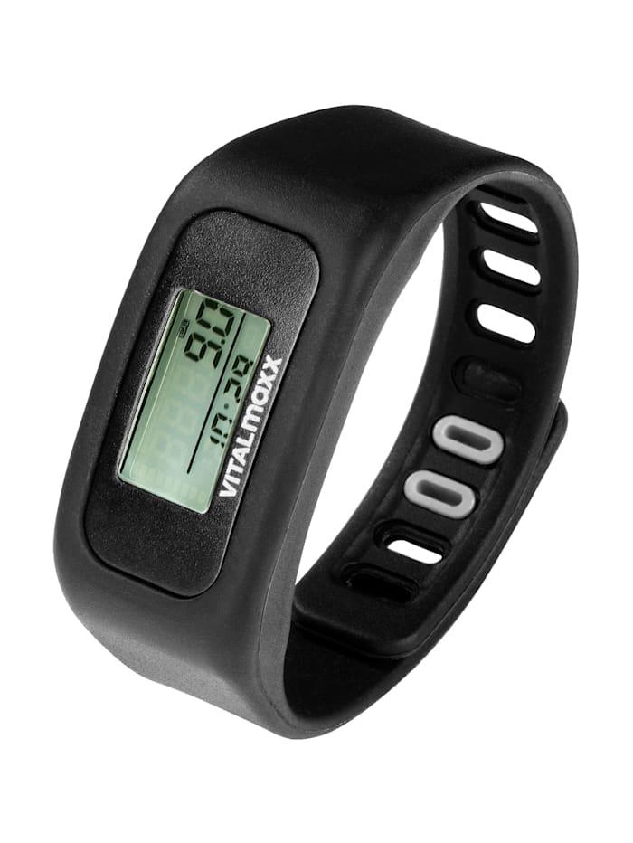 Vitalmaxx Fitness-Armband -mit verstellbaren Silikon-Armband, Schwarz