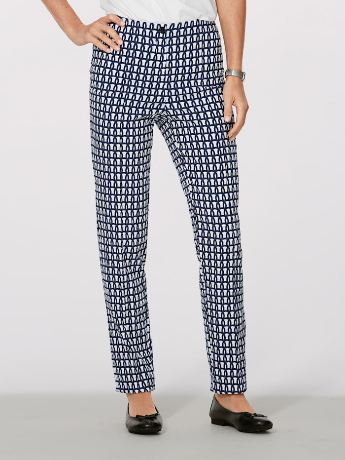 MONA Trousers in a jacquard pattern, Navy/White