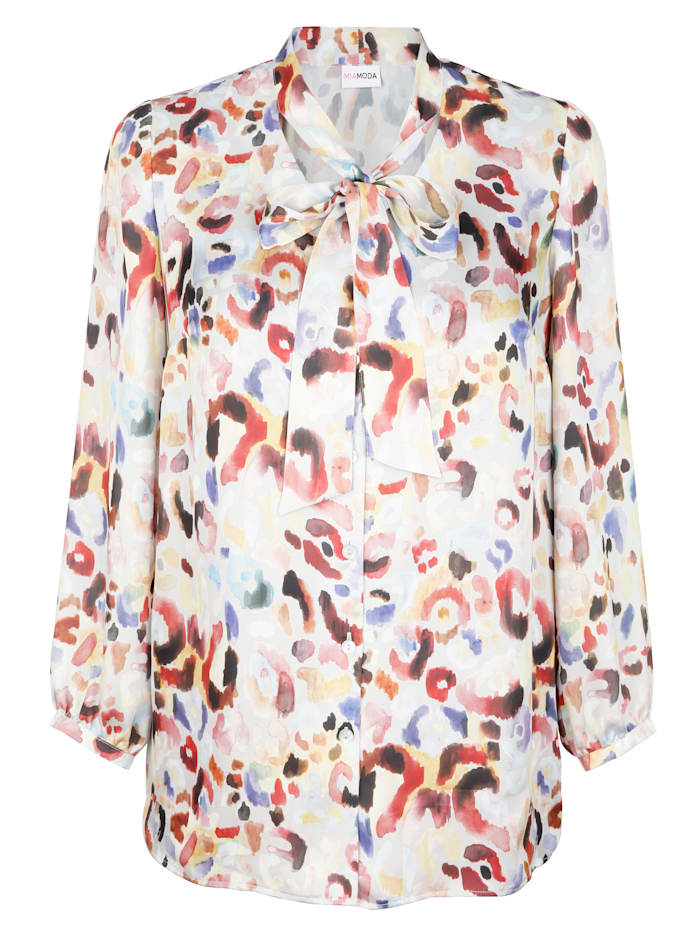MIAMODA Bluse med sløyfe i halsen, Multicolor