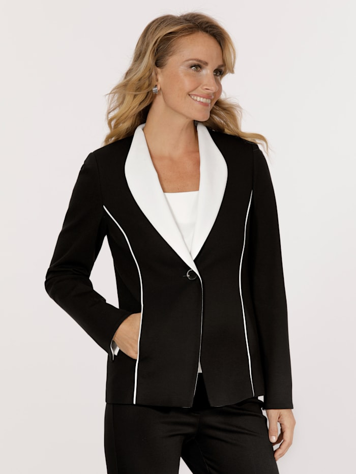 MONA Jersey blazer in contrasting colours, Black/Ecru