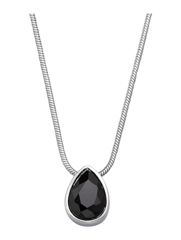 Collier avec pierre de verre, Noir